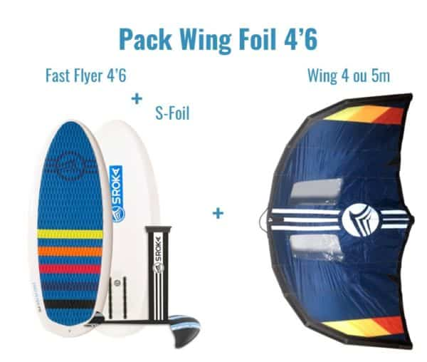 Wing Foil Pack Fast Flyer 4'6 Sroka. A pack that will allow you to practice wing foil at the highest level of performance but also surf foil, wake foil and even kite foil with the use of a kite.
