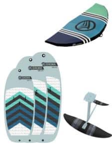 Pack complet pour la pratique du wingsurf avec une planche gonflable de la marque Sroka